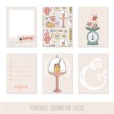 Sistema de 6 tarjetas que meten en diario creativas Imagen de archivo