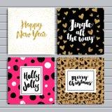 Sistema de 8 tarjetas que meten en diario creativas Carteles de la Navidad fijados Ilustración del vector Plantilla para Scrapboo Fotos de archivo