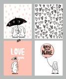 Sistema de tarjetas romántico Cuatro tarjetas del día del ` s de la tarjeta del día de San Valentín con el conejo y los corazones Fotos de archivo