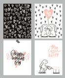 Sistema de tarjetas romántico Cuatro tarjetas del día del ` s de la tarjeta del día de San Valentín con el conejo y los corazones Imagen de archivo
