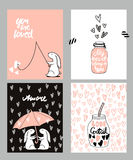 Sistema de tarjetas romántico Cuatro tarjetas del día del ` s de la tarjeta del día de San Valentín con el conejo y los corazones Imágenes de archivo libres de regalías
