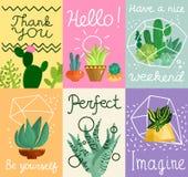 Sistema de tarjetas suculento libre illustration