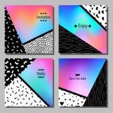 Sistema de tarjetas universales coloridas artísticas Boda, aniversario, cumpleaños, día de fiesta, partido ilustración del vector