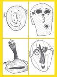 Sistema de tarjetas universales creativas artísticas Mano drenada Aniversario, cumpleaños, partido Diseñe para la postal, invitac Foto de archivo libre de regalías