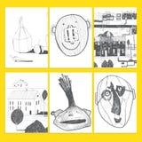 Sistema de tarjetas universales creativas artísticas Mano drenada Aniversario, cumpleaños, partido Diseñe para la postal, invitac Fotos de archivo libres de regalías
