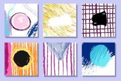 Sistema de tarjetas universales creativas artísticas Texturas dibujadas mano stock de ilustración