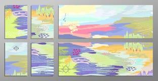 Sistema de tarjetas universales creativas y de banderas del drenaje abstracto de la mano Diseñe para el cartel paty, fondo de la  stock de ilustración