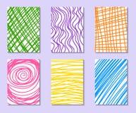 Sistema de tarjetas universales dibujadas mano libre illustration