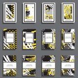 Sistema de tarjetas universales dibujadas mano stock de ilustración