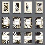 Sistema de tarjetas universales dibujadas mano Imágenes de archivo libres de regalías