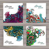 Sistema de tarjetas universales florales Imagenes de archivo