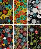 Sistema de tarjetas verticales con los pájaros y la flora Foto de archivo libre de regalías