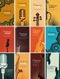 Sistema de tarjetas de visita con los instrumentos musicales stock de ilustración