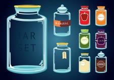 Sistema de tarros de cristal vacíos y llenos Imágenes de archivo libres de regalías