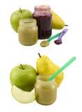 Sistema de tarros de los alimentos para niños con la fruta Fotografía de archivo