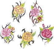 Sistema de tatuajes color de rosa tribales de la flor Foto de archivo