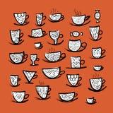 Sistema de tazas adornadas Bosquejo para su diseño Imágenes de archivo libres de regalías