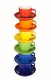 Sistema de tazas coloridas. Fotos de archivo libres de regalías