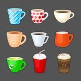 Sistema de tazas coloridas con diversas bebidas Foto de archivo