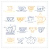 Sistema de tazas de té y de teteras Fotografía de archivo libre de regalías