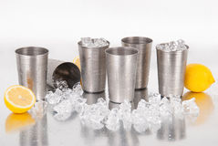 Sistema de tazas del acero inoxidable Fotografía de archivo libre de regalías