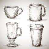 Sistema de tazas del coffe Foto de archivo