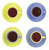 Sistema de tazas del color Imágenes de archivo libres de regalías