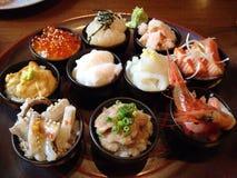 Sistema de tazas del sushi Foto de archivo libre de regalías