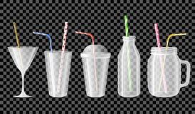 Sistema de tazas vacías, de tarros, de botellas, de vidrios para los cócteles, de jugos y de smoothies stock de ilustración