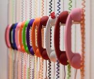 Sistema de teléfonos y de alambres del color Fotografía de archivo