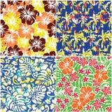 Sistema de tela tropical de cuatro flores del grunge Imagen de archivo libre de regalías