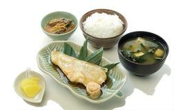 Sistema de Teriyaki de los pescados de la nieve Foto de archivo libre de regalías