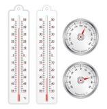 Sistema de termómetros y del barómetro en vector libre illustration