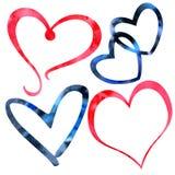 Sistema de textura de la tarjeta del día de San Valentín de la acuarela a mano de corazones rojos y negros ilustración del vector