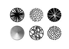 Sistema de texturas en el círculo para el diseño Colección de texturas dibujadas mano de moda de los círculos Ilustración del vec Imagen de archivo libre de regalías