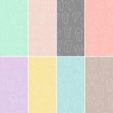 Sistema de 8 texturas inconsútiles con formas geométricas y cristales del esquema Colección moderna de los modelos del inconformi ilustración del vector