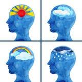 Sistema de tiempo emocional en la pintura de la acuarela del pensamiento abstracto de la cabeza humana stock de ilustración