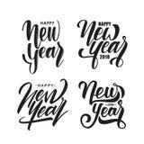 Sistema de tipo manuscrito letras de Feliz Año Nuevo Diseño de la tipografía libre illustration