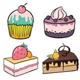 Sistema de tortas con las frutas Fotos de archivo libres de regalías