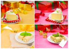 Sistema de tortas deliciosas de la decoración Fotos de archivo