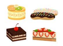 Sistema de tortas lindas aisladas en el fondo blanco Foto de archivo libre de regalías