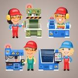 Sistema de trabajadores de la historieta que trabajan en la fábrica Imágenes de archivo libres de regalías