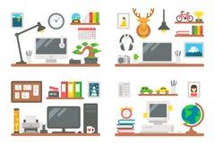 Sistema de trabajo del escritorio del diseño plano Fotos de archivo libres de regalías
