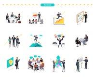 Sistema de trabajo en equipo de la bandera del negocio stock de ilustración