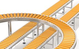 Sistema de transportador de rodillo anaranjado Fotos de archivo