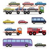 Sistema de transporte colorido Diferentes tipos de automóvil Fotografía de archivo