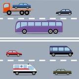 Sistema de transporte colorido Diferentes tipos de automóvil en un ro Fotografía de archivo libre de regalías
