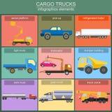 Sistema de transporte del cargo de los elementos: camiones, camión para crear Fotografía de archivo libre de regalías