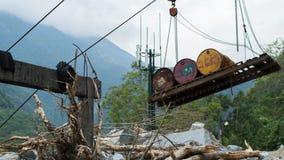Sistema de transporte velho do cabo em Taiwan imagens de stock