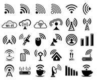 Sistema de treinta iconos del wifi Imagen de archivo